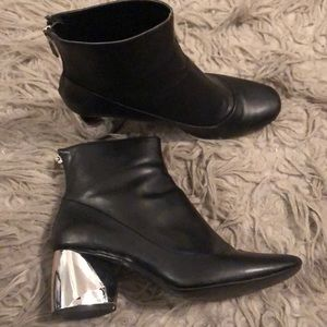 Size 38 Zara Booties with Silver heel